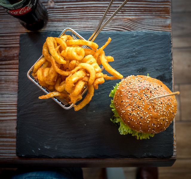 Beef Burger and curly fries in Charlottenburg, Berlin