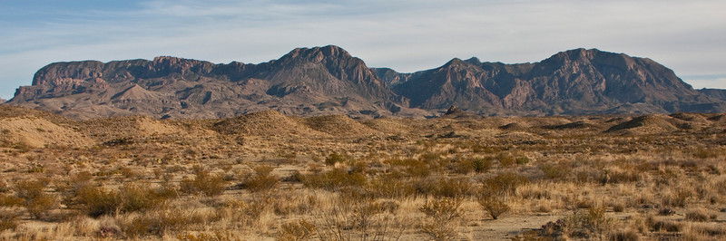 "View of the Chisos Mountains from the desert floor.  ""The Window"" can be seen near the center of the picture."