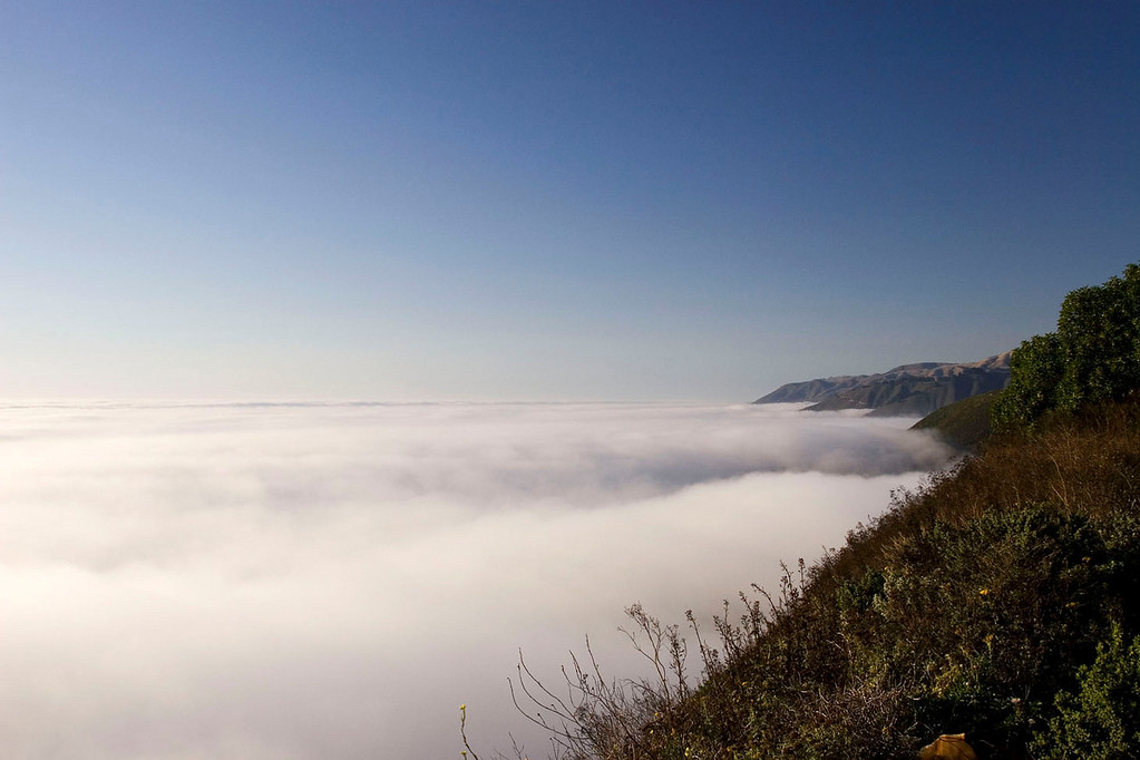 Foggy Central Coast between Big Sur and Carmel.
