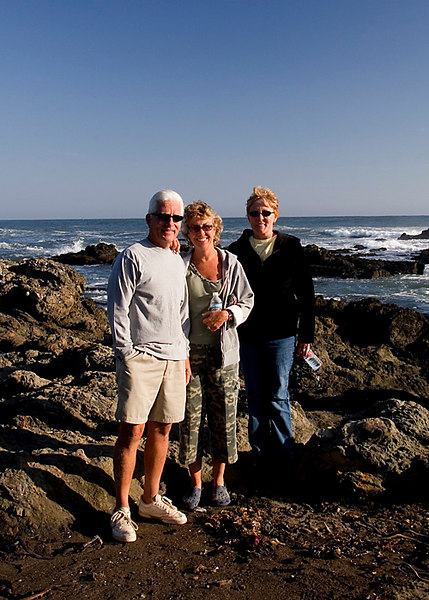 Larry, Sue and Rebecca in Shelter Cove.