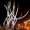 Lit up sculpture at Blyth harbour