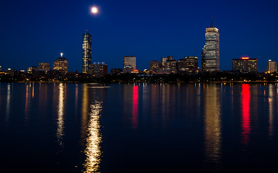 Charles River Boston Moon