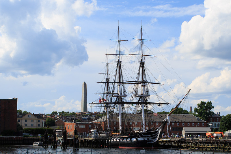 The USS Constitution and Bunker Hill Memorial in Charlestown.
