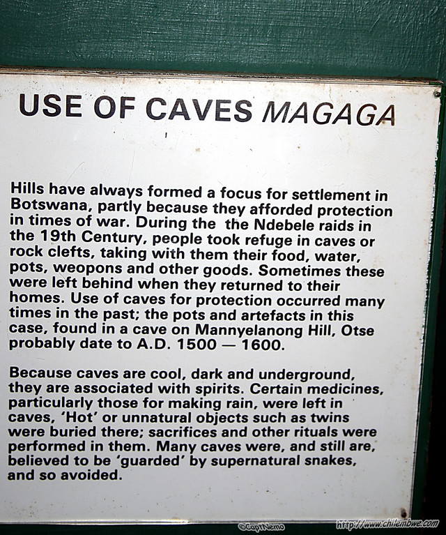 At the National Museum<br /> -<br /> Use of caves in Botswana