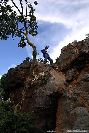 Ridge walking while searching for Lobatse cave #2, Botswana.