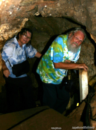 Mom and Dad deep inside Sterkfontein cave.