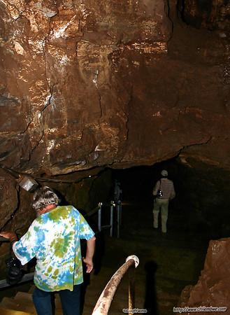 Dad entering Sterkfontein cave.