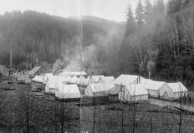 Spruce soldiers lived in camps such as this one along the Miami River.