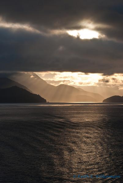Morning rays on Johnstone Strait