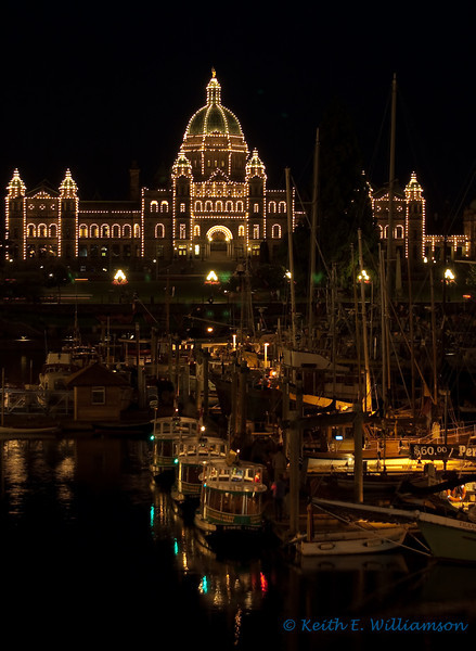 Parliment building, with harbor taxis in foreground