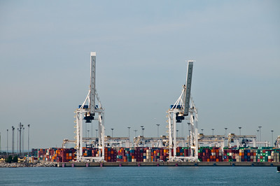 Cargo cranes and containers... more color than I'd have expected.