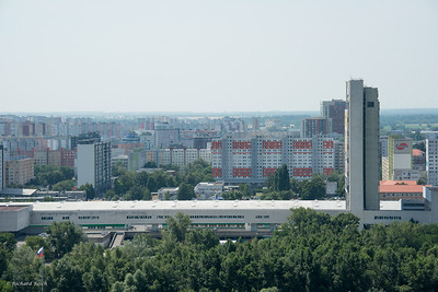 River Danube and view of old Soviet built housing