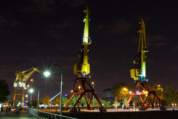Massive Crane Art Lit at Night