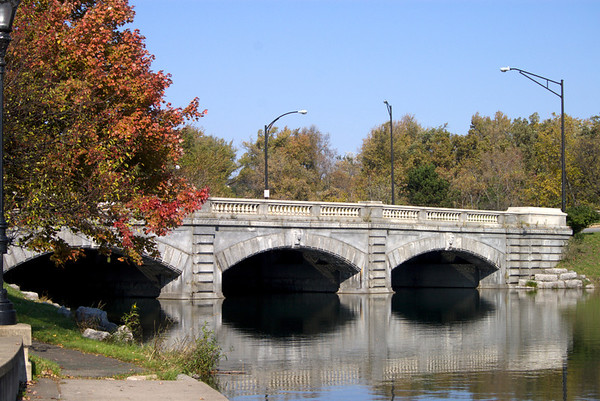 A beautiful fall day in Buffalo. Delaware Park Bridge.