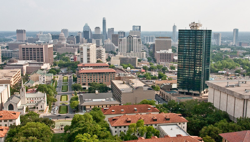 View of the Austin Central Business District from the UT Tower's Observation Deck.