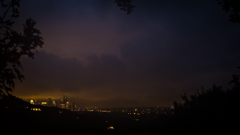 As darkness fell, so did the clouds. After the fireworks started, it started to rain. That cut down on the clarity of my images. I'm shooting the fireworks from 4.43 miles away in the hills.