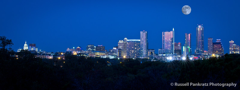 Downtown Austin under a blue moon. Capitol to the left, everything else to the right.