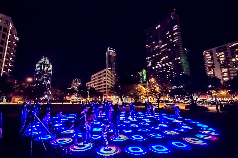 A technology installation during SXSW