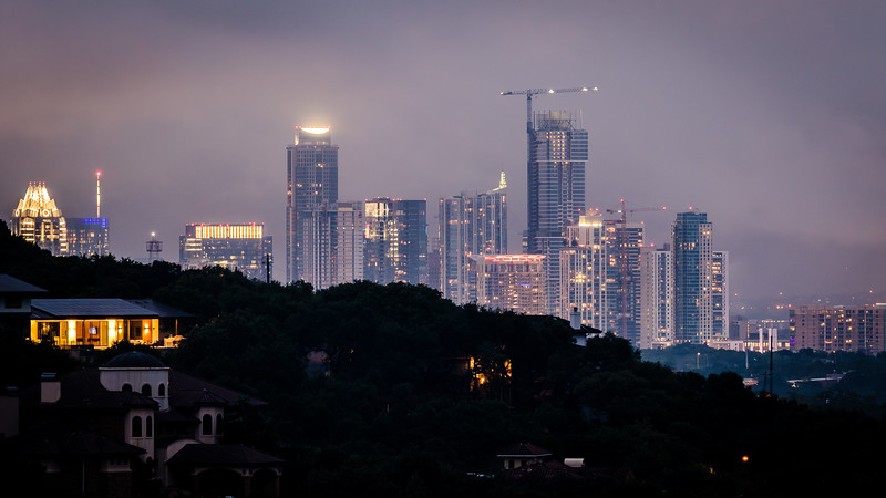 After I setup my tripod rig on my roof (so I can shoot over the trees in the yard), I got this nice updated look at Austin's central business district.
