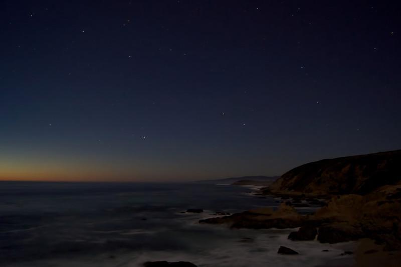 Night falls onto Bodega Bay