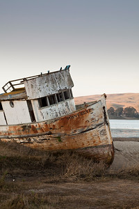 Stranded wreck of the Point Reyes near Inverness, California, USA