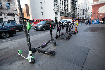 Row of Electric Scooters in Downtown Los Angeles
