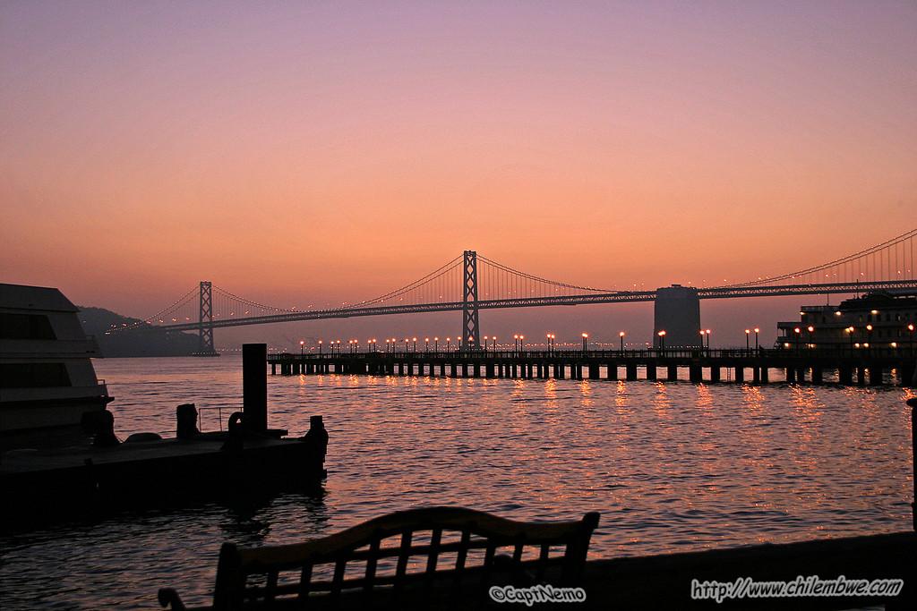 San Francisco Pier in the evening twilight.