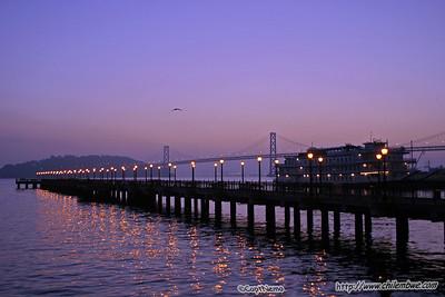 San Francisco Pier in early morning twilight.
