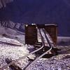 Tracks to loading shut.  Schwab Mining camp.  Death Valley NM, California.  1973