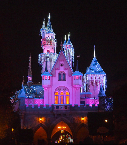 Sleeping Beauty's Castle (back) with Christmas lights at Disneyland - 9 Dec 2010