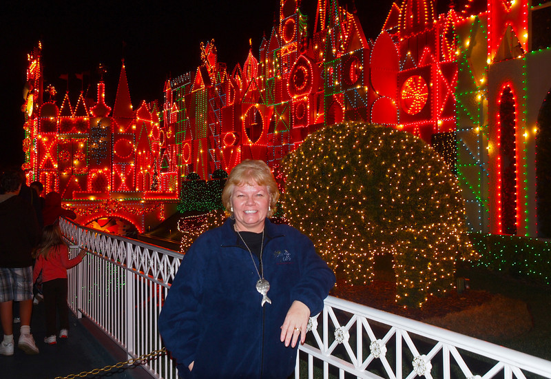 Nancy at It's a Small World at Disneyland - 9 Dec 2010