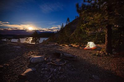 Moon lit camping