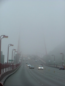 Fog-shrouded bridge