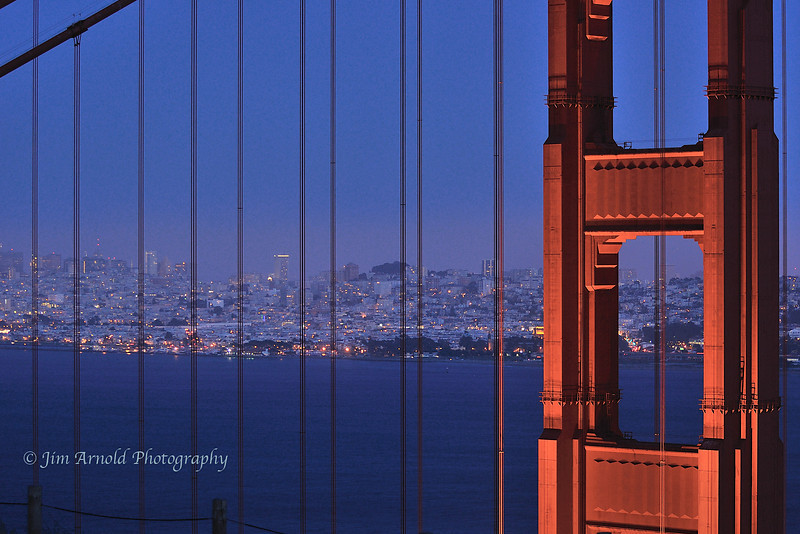 Golden Gate Bridge - North Tower at Dusk