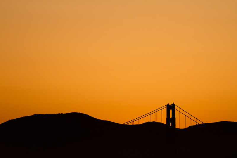 Golden Gate Bridge and Marin Headlands just after sunset.