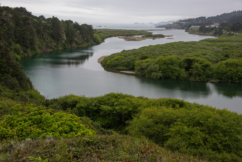Russian river as it empties into the ocean.  California.