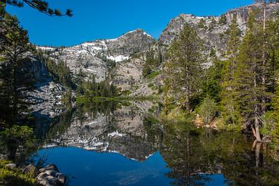 Mirrored reflection of Eagle Lake.  Lake Tahoe, California.