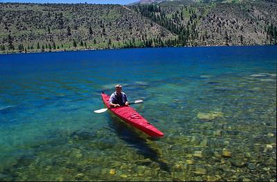 Richard and kayak. White Rock lake, Lake Tahoe, California.