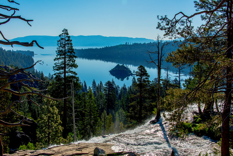 Eagle falls with Emerald bay and Fannette island in background.  Lake Tahoe, California.