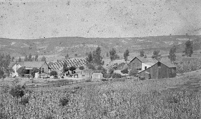 Early photograph (before 1900) of the Teten ranch.  This ranch was located near the termination of Jennifer Lane.  Photo taken near 2450 Teten way looking southwest.