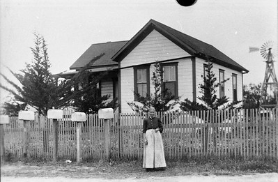 Mrs. Lickert in front of her house located at 355 Cole ranch road.  This house was still occupied in 2017.