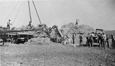 Owens lima bean threshing machine in about 1920.  Jointly owned by John Teten, Clarence Cole and Garfield Ramsey.  Location unknown.