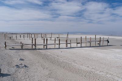 Receding water has left boat docks unusable.  2008,  Red Hill,  Salton Sea.