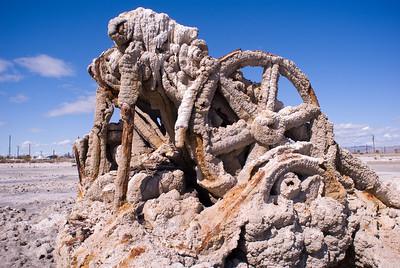 Mineral encrusted machinery.   Bombay Beach, Salton Sea.