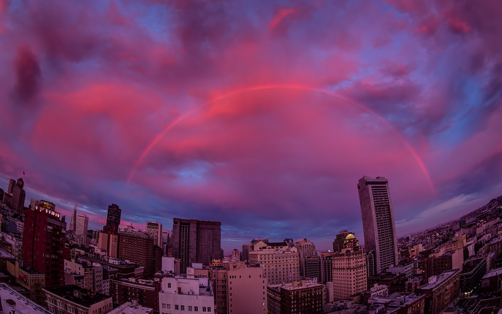 Rainbow Over San Francisco II September 5, 2012  By the time I got to the roof the double rainbow was gone, but the color was stronger and the framing was a lot better then hanging out my window.   Prints: http://smu.gs/NTxXtA
