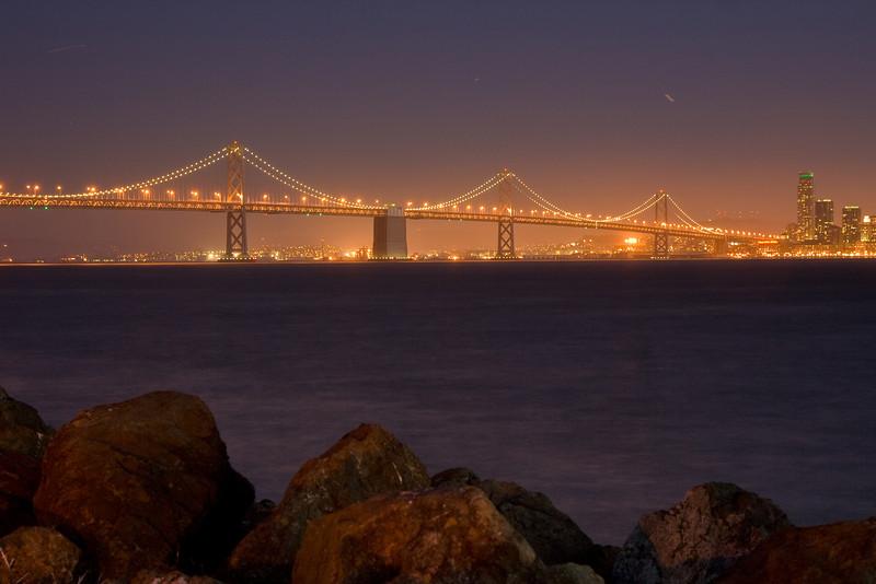 Bay Bridge at night from Treasure Island