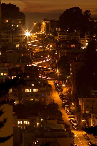 Lombard Street car lights at night