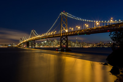 The Bay Bridge Skyline  I have been to this location a few times, but never this far over above the beach area. From this vantage point you get all 4 Bridge Towers in. You can also get Coit Tower just in it, just barely :) Might need to do some tree trimming around there and also above the bridge could use it!  Canon 5D MK III 17-40mm f/4 L ISO 100 f/20 150 Seconds