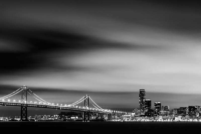 Silky City - San Francisco, CA  Another one from the other night at my Treasure Island Photowalk. This was after everyone left, well I guess I was okey with that, as the clouds got really nice after!   Canon 5D MK III Canon 70-200mm f/4 L f/18 204 Seconds ISO 100  All edited in Lightroom 4  http://tobyharriman.smugmug.com/Photography/San-Francisco/23998223_S39VQZ#!i=1985485709&k=mw5Wmg4