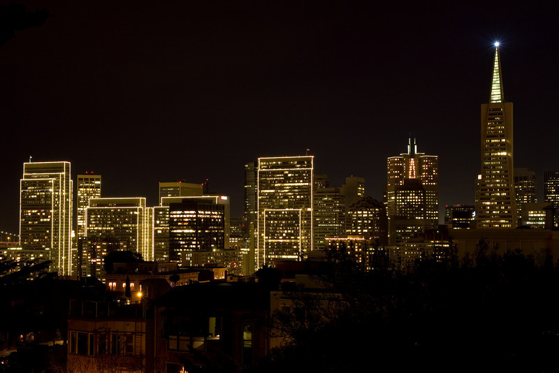 San Francisco city lights at night from Coit Tower.